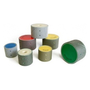 Drums for wet grinding and polishing internal cutouts in granite, marble, terrazzo and engineered stone.