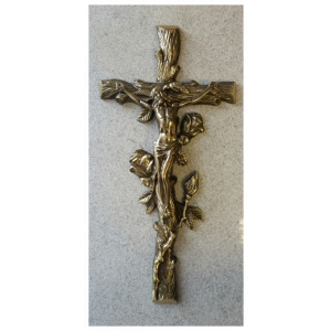 Brass Cross with Rose